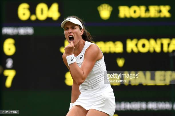 Johanna Konta of Great Britain celebrates as she wins the second set during the Ladies Singles quarter final match against Simona Halep of Romania on...