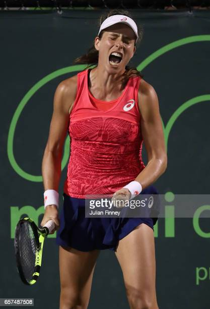 Johanna Konta of Great Britain celebrates defeating Aliaksandra Sasnovich of Belarus at Crandon Park Tennis Center on March 24 2017 in Key Biscayne...