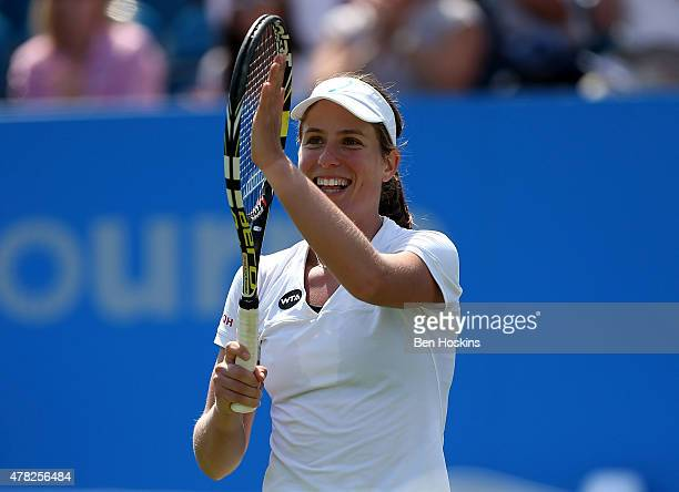 Johanna Konta of Great Britain celebrates defeating Garbine Muguruza of Spain in their third round match on day four of the Aegon International at...