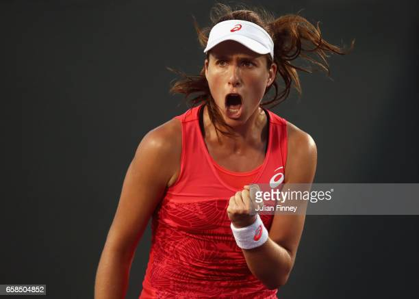 Johanna Konta of Great Britain celebrates defeating Lara Arruabarrena of Spain at Crandon Park Tennis Center on March 27 2017 in Key Biscayne Florida
