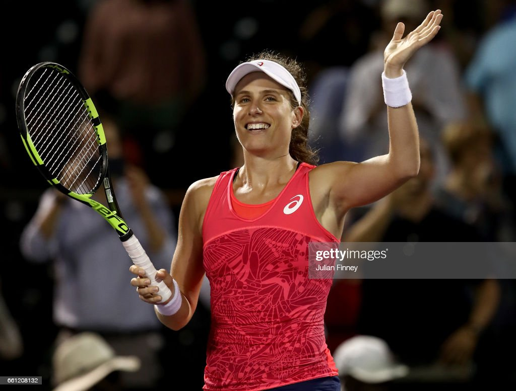 Johanna Konta of Great Britain celebrates defeating Venus Williams of USA in the semi finals at Crandon Park Tennis Center on March 30, 2017 in Key Biscayne, Florida.