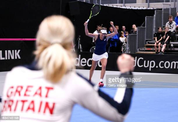Johanna Konta of Great Britain celebrates during the Fed Cup Europe/Africa Group 1 Promotional Playoff SemiFinal match against Croatia at the Tallink...
