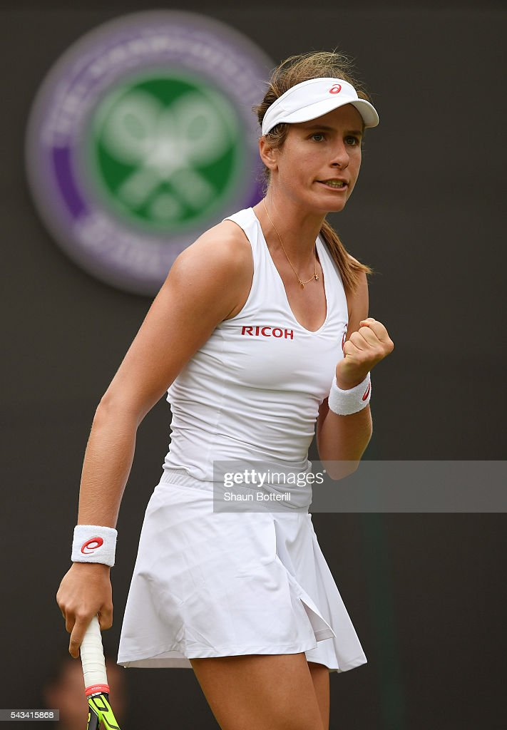 <a gi-track='captionPersonalityLinkClicked' href=/galleries/search?phrase=Johanna+Konta&family=editorial&specificpeople=4482643 ng-click='$event.stopPropagation()'>Johanna Konta</a> of Great Britain celebrates during the Ladies Singles first round match against Monica Puig of Puerto Rico on day two of the Wimbledon Lawn Tennis Championships at the All England Lawn Tennis and Croquet Club on June 28, 2016 in London, England.