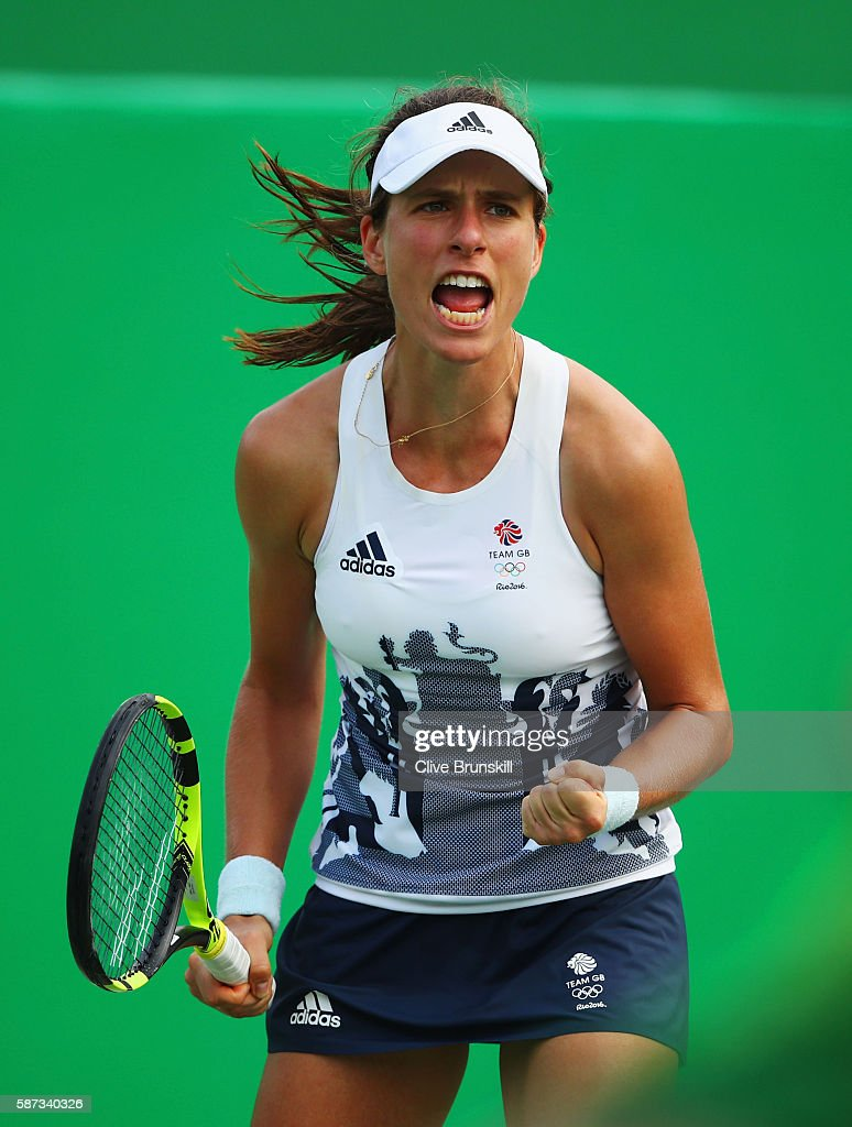 Johanna Konta of Great Britain celebrates match point and victory during the Women's Singles second round match against Caroline Garcia of France on Day 3 of the Rio 2016 Olympic Games at the Olympic Tennis Centre on August 8, 2016 in Rio de Janeiro, Brazil.