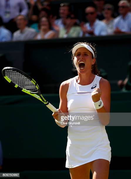 Johanna Konta of Great Britain celebrates match point and victory during the Ladies Singles second round match against Donna Vekic of Croatia on day...