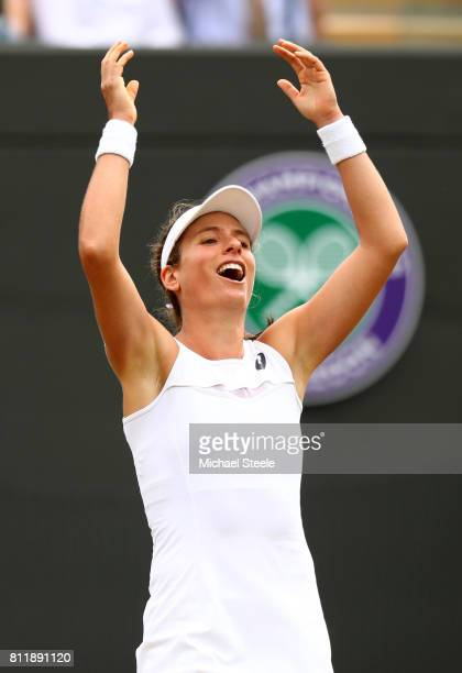 Johanna Konta of Great Britain celebrates match point and victory during the Ladies Singles fourth round match against Caroline Garcia of France on...