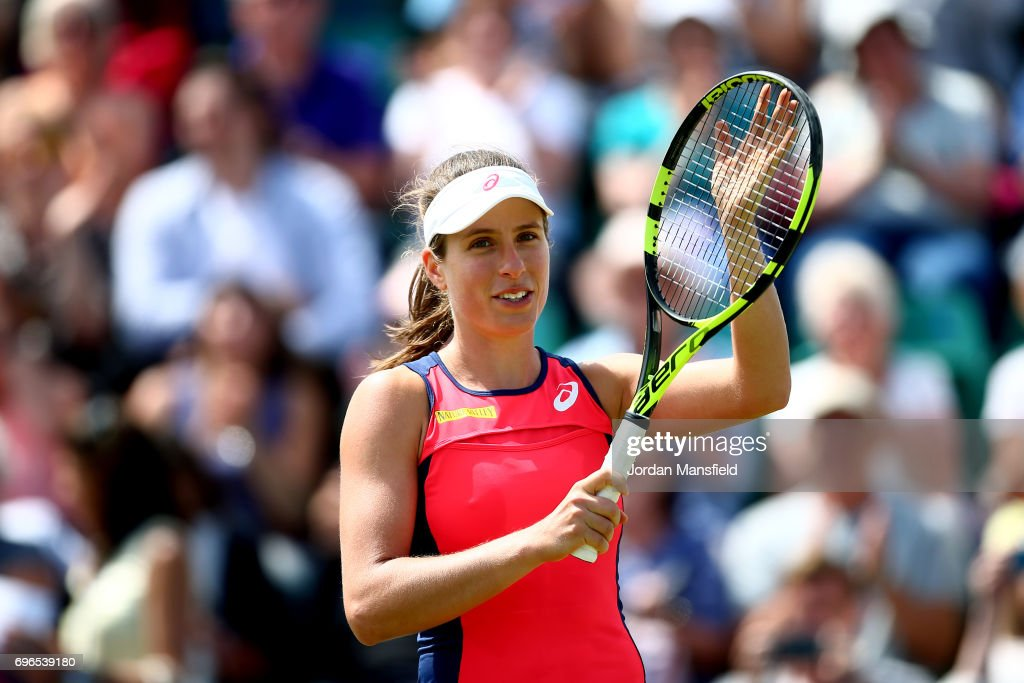 Johanna Konta of Great Britain celebrates victory in her quarter-final match against Ashleigh Barty of Australia during day five of the Aegon Open Nottingham at the Nottingham Tennis Centre on June 16, 2017 in Nottingham, England.