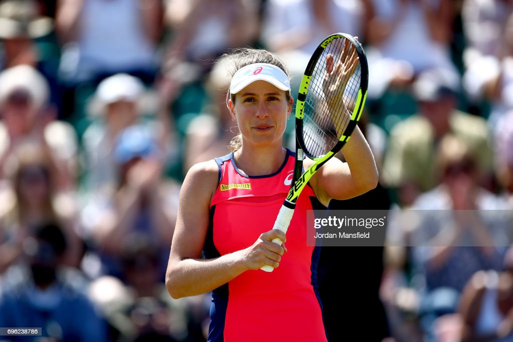 Johanna Konta of Great Britain celebrates victory in her Women's Singles second round match against Yanina Wickmayer of Belgium during day four of the Aegon Open Nottingham at Nottingham Tennis Centre on June 15, 2017 in Nottingham, England.