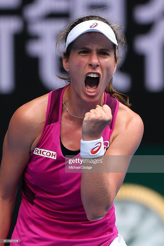 Johanna Konta of Great Britain celebrates winning a point in her quarter final match against Shuai Zhang of China during day 10 of the 2016...
