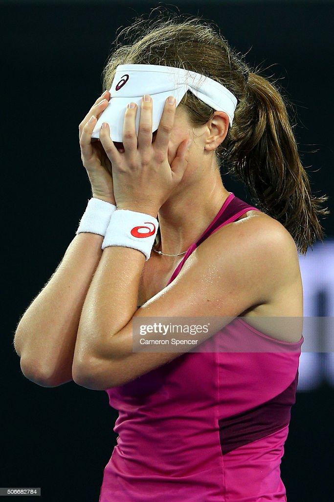 Johanna Konta of Great Britain celebrates winning her fourth round match against Ekaterina Makarova of Russia during day eight of the 2016 Australian...