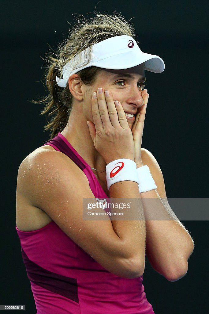 Johanna Konta of Great Britain celebrates winning her fourth round match against Ekaterina Makarova of Russia during day eight of the 2016 Australian Open at Melbourne Park on January 25, 2016 in Melbourne, Australia.