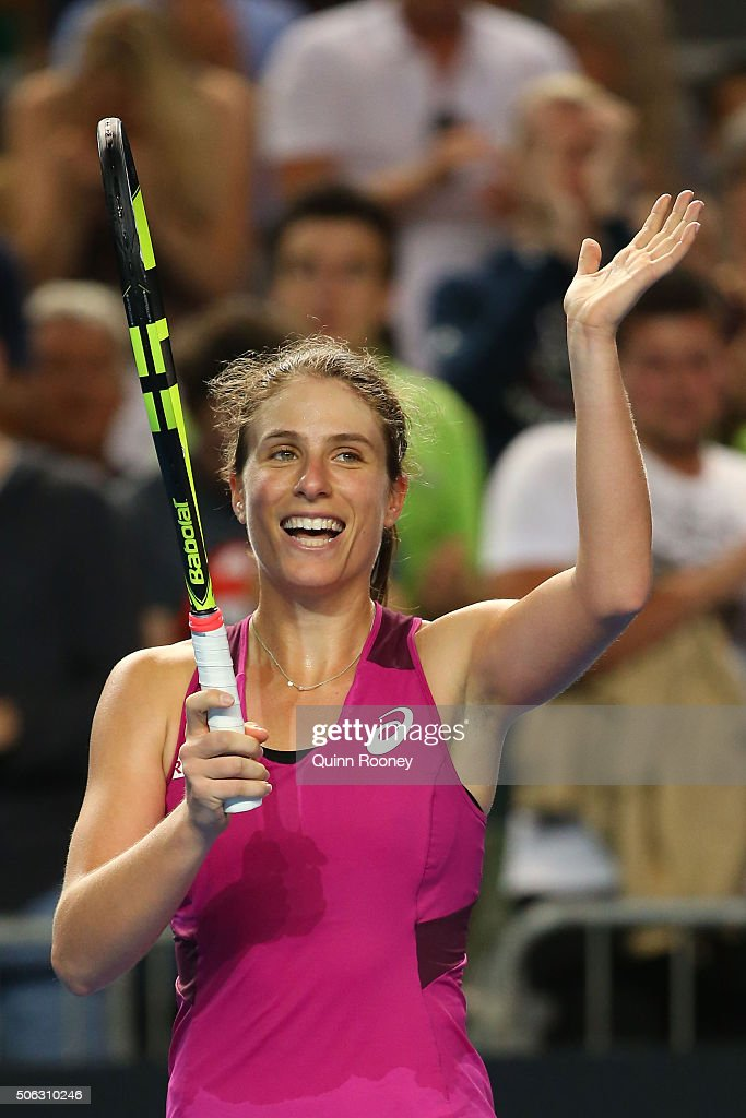 Johanna Konta of Great Britain celebrates winning her third round match against Denisa Allertova of the Czech Republic during day six of the 2016...