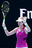 Johanna Konta of Great Britain celebrates winning match point in her quarter final match against Shuai Zhang of China during day 10 of the 2016...