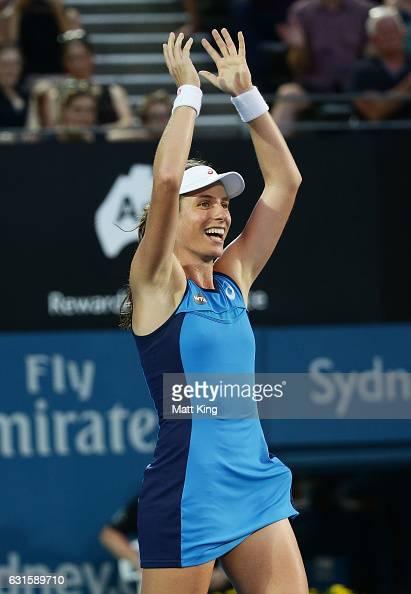 Johanna Konta of Great Britain celebrates winning match point in the Womens Final match against Agnieszka Radwanska of Poland during the Sydney...