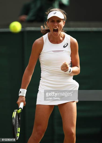 Johanna Konta of Great Britain celebrates winning the first set during the Ladies Singles third round match against Maria Sakkari of Greece on day...
