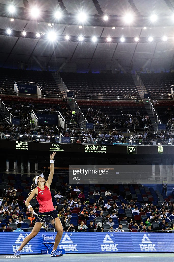 Johanna Konta of Great Britain competes against Venus Williams of the United States in quarterfinals match during day five of 2015 Dongfeng Motor...