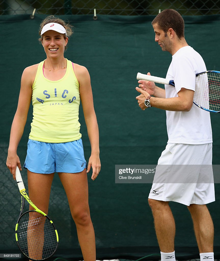 <a gi-track='captionPersonalityLinkClicked' href=/galleries/search?phrase=Johanna+Konta&family=editorial&specificpeople=4482643 ng-click='$event.stopPropagation()'>Johanna Konta</a> of Great Britain during a practice session prior to the Wimbledon Lawn Tennis Championships at the All England Lawn Tennis and Croquet Club on June 26, 2016 in London, England.
