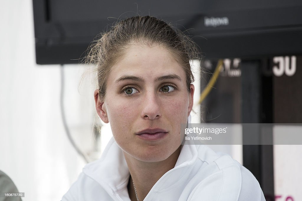 <a gi-track='captionPersonalityLinkClicked' href=/galleries/search?phrase=Johanna+Konta&family=editorial&specificpeople=4482643 ng-click='$event.stopPropagation()'>Johanna Konta</a> of Great Britain during a press conference after the tie between Great Britain and Bosnia and Herzegovina during the Fed Cup Europe/Africa Group One fixture at the Municipal Tennis Club on February 7, 2013 in Eilat, Israel.