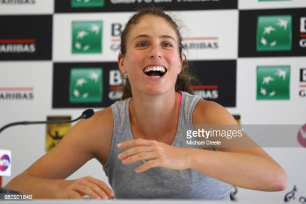 Johanna Konta of Great Britain during a press conference on Day Two of The Internazionali BNL d'Italia 2017 at the Foro Italico on May 14 2017 in...