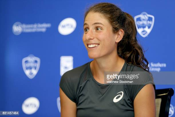 Johanna Konta of Great Britain fields questions from the media during day 3 of the Western Southern Open at the Lindner Family Tennis Center on...