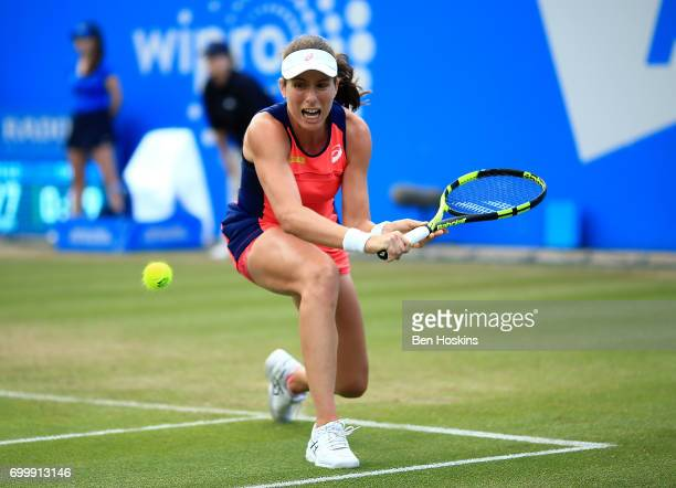 Johanna Konta of Great Britain hits a backhand during the second round match against Coco Vandeweghe of The USA on day four of The Aegon Classic...