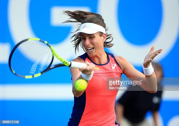 Johanna Konta of Great Britain hits a forehand during the second round match against Coco Vandeweghe of The USA on day four of The Aegon Classic...