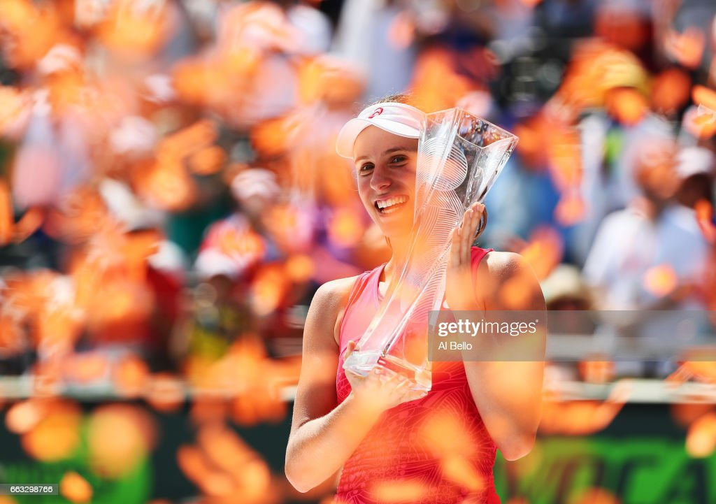 Johanna Konta of Great Britain holds the winner's trophy after defeating Caroline Wozniacki of Denmark after the Women's Final on Day 13 of the Miami Open at Crandon Park Tennis Center on April 1, 2017 in Key Biscayne, Florida.