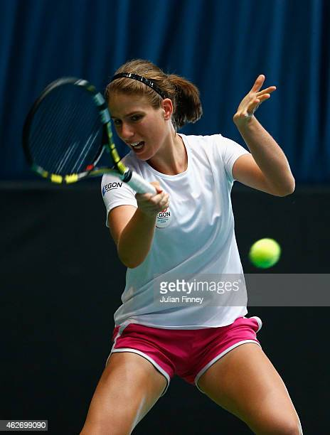 Johanna Konta of Great Britain in a practice session during previews for the Fed Cup Europe/Africa Group One tennis at Syma Event and Congress Centre...
