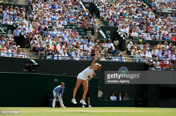 Johanna Konta of Great Britain in action against Caroline Garcia of France on day seven of the 2017 Wimbledon Championships at the All England Lawn...