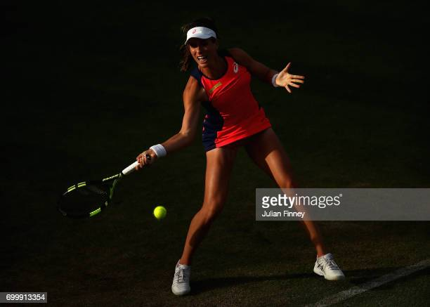Johanna Konta of Great Britain in action against Coco Vandeweghe of USA during day four of the Aegon Classic at Edgbaston Priory Club on June 22 2017...