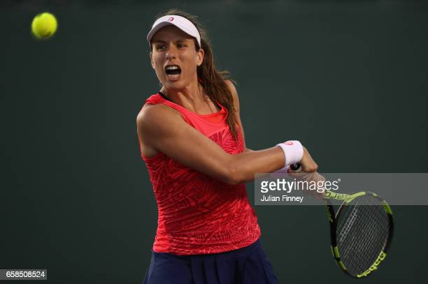 Johanna Konta of Great Britain in action against Lara Arruabarrena of Spain at Crandon Park Tennis Center on March 27 2017 in Key Biscayne Florida