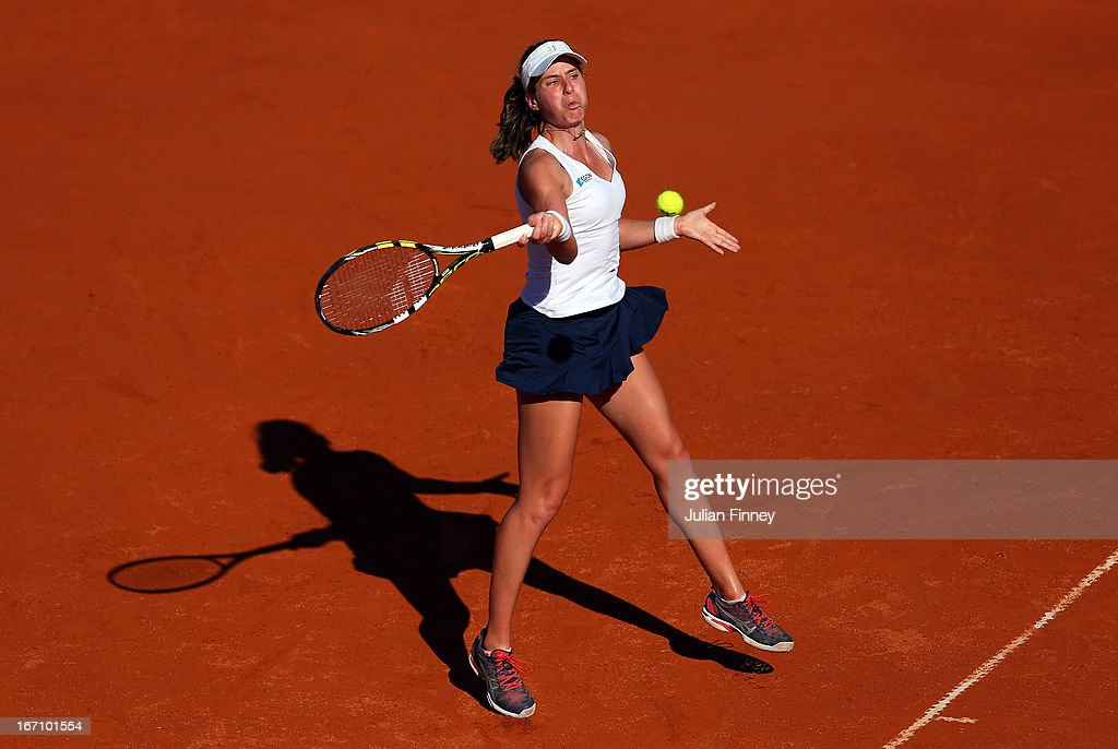<a gi-track='captionPersonalityLinkClicked' href=/galleries/search?phrase=Johanna+Konta&family=editorial&specificpeople=4482643 ng-click='$event.stopPropagation()'>Johanna Konta</a> of Great Britain in action against Paula Ormaechea of Argentina during day one of the Fed Cup World Group Two Play-Offs between Argentina and Great Britain at Parque Roca on April 20, 2013 in Buenos Aires, Argentina.