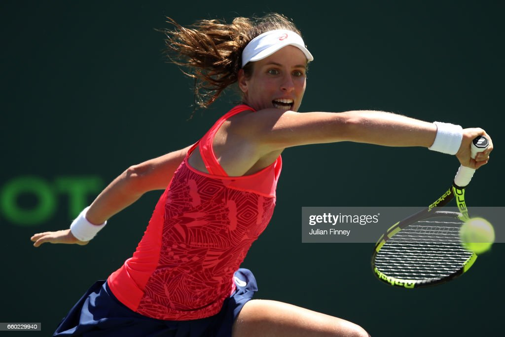Johanna Konta of Great Britain in action against Simona Halep of Romania at Crandon Park Tennis Center on March 29, 2017 in Key Biscayne, Florida.