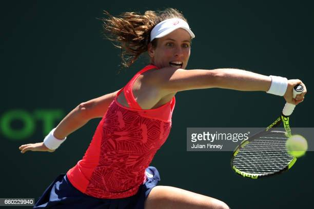 Johanna Konta of Great Britain in action against Simona Halep of Romania at Crandon Park Tennis Center on March 29 2017 in Key Biscayne Florida