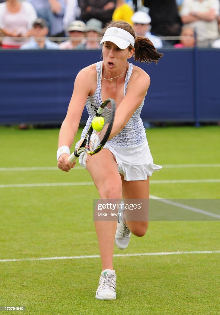 Johanna Konta of Great Britain in action against Su-Wei Hsieh of Tapei during Day Four of the AEGON International at Devonshire Park on June 18, 2013 in Eastbourne, England.