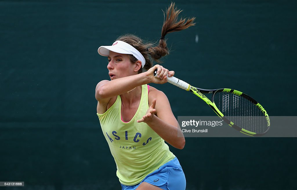 <a gi-track='captionPersonalityLinkClicked' href=/galleries/search?phrase=Johanna+Konta&family=editorial&specificpeople=4482643 ng-click='$event.stopPropagation()'>Johanna Konta</a> of Great Britain in action during a practice session prior to the Wimbledon Lawn Tennis Championships at the All England Lawn Tennis and Croquet Club on June 26, 2016 in London, England.