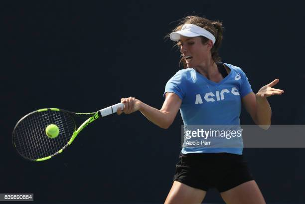 Johanna Konta of Great Britain in action during a practice session prior to the US Open Tennis Championships at USTA Billie Jean King National Tennis...