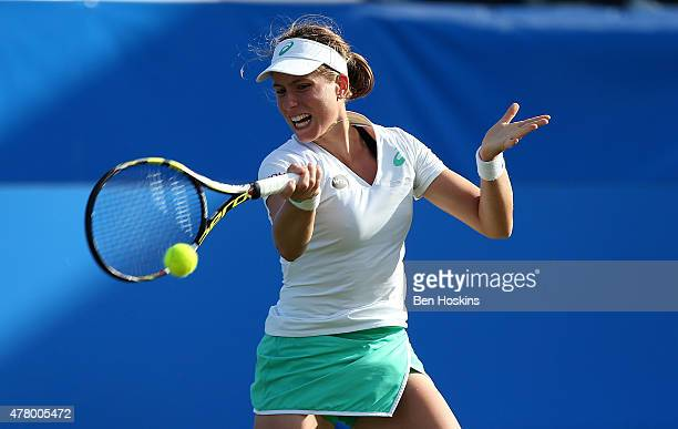 Johanna Konta of Great Britain in action during her qualifying match against Zarina Diyas of Kazakhstan at Devonshire Park on June 21 2015 in...