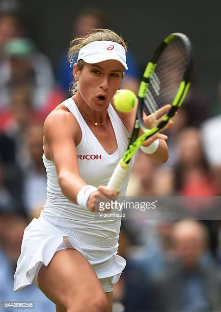 Johanna Konta of Great Britain in action during her second round match against Eugenie Bouchard of Canada at Wimbledon on June 30 2016 in London...