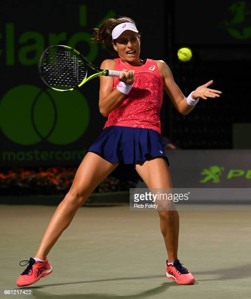 Johanna Konta of Great Britain in action during the semifinals match against Venus Williams on day 11 of the Miami Open at the Crandon Park Tennis...