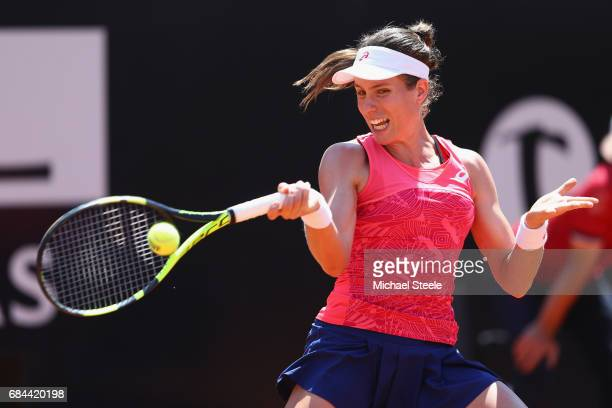 Johanna Konta of Great Britain in action during the women's third round match against Venus Williams of USA on Day Five of the Internazionali BNL...