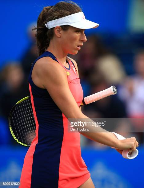 Johanna Konta of Great Britain looks dejected following the second round match against Coco Vandeweghe of The USA on day four of The Aegon Classic...