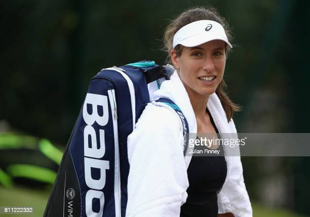 Johanna Konta of Great Britain looks on after her training session at Wimbledon on July 9 2017 in London England