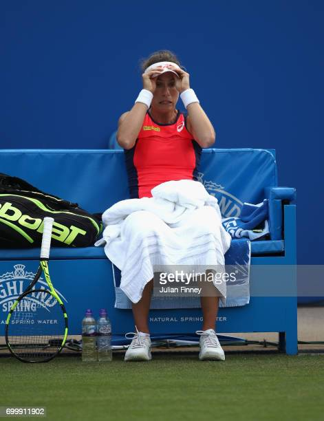 Johanna Konta of Great Britain looks on at the change of ends in her match against Coco Vandeweghe of USA during day four of the Aegon Classic at...