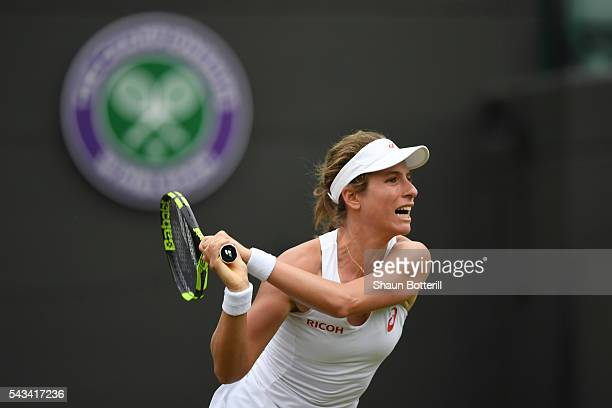 Johanna Konta of Great Britain looks on during the Ladies Singles first round match against Monica Puig of Puerto Rico on day two of the Wimbledon...
