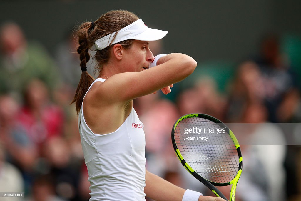 <a gi-track='captionPersonalityLinkClicked' href=/galleries/search?phrase=Johanna+Konta&family=editorial&specificpeople=4482643 ng-click='$event.stopPropagation()'>Johanna Konta</a> of Great Britain looks on during the Ladies Singles second round match against Eugenie Bouchard of Canada on day four of the Wimbledon Lawn Tennis Championships at the All England Lawn Tennis and Croquet Club on June 30, 2016 in London, England.