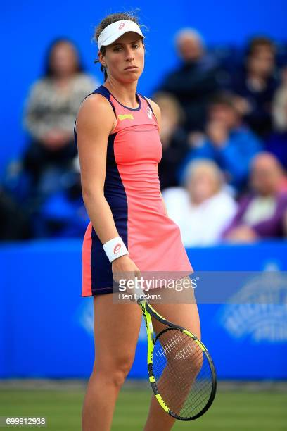 Johanna Konta of Great Britain looks reacts during the second round match against Coco Vandeweghe of The USA on day four of The Aegon Classic...