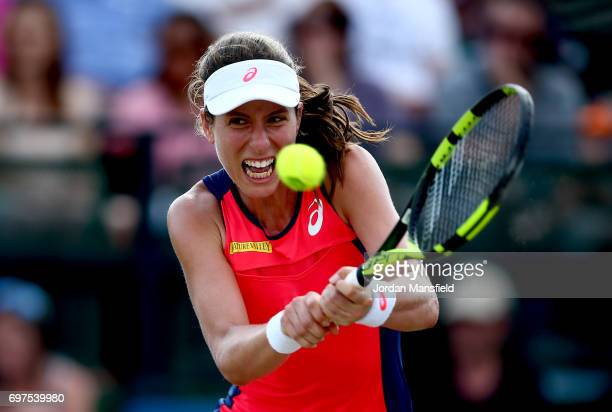 Johanna Konta of Great Britain plays a backhand during her Women's Singles Final match against Donna Vekic of Croatia during day 7 of the Aegon Open...