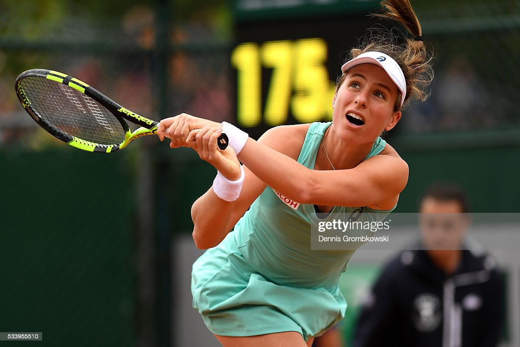 <a gi-track='captionPersonalityLinkClicked' href=/galleries/search?phrase=Johanna+Konta&family=editorial&specificpeople=4482643 ng-click='$event.stopPropagation()'>Johanna Konta</a> of Great Britain plays a backhand during the Ladies Singles first round match against Julia Goerges of Germany on day three of the 2016 French Open at Roland Garros on May 24, 2016 in Paris, France.