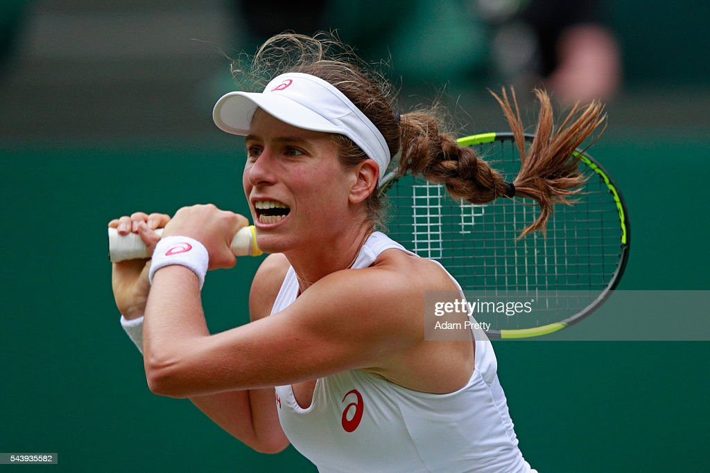 <a gi-track='captionPersonalityLinkClicked' href=/galleries/search?phrase=Johanna+Konta&family=editorial&specificpeople=4482643 ng-click='$event.stopPropagation()'>Johanna Konta</a> of Great Britain plays a backhand during the Ladies Singles second round match against Eugenie Bouchard of Canada on day four of the Wimbledon Lawn Tennis Championships at the All England Lawn Tennis and Croquet Club on June 30, 2016 in London, England.
